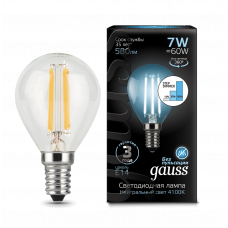 Лампа Gauss LED Filament ШАР E14 7W 4100K step dim