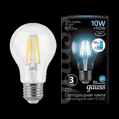 Лампа Gauss LED Filament A60 E27 10W 4100К step dimmable